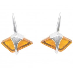 Silver and honey amber earring