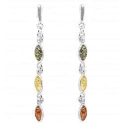 Ohrring-Silber und Perlen Bernstein Multicolor