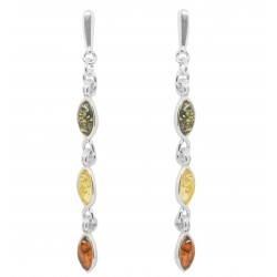 Silver earring and multicolored Amber pearl