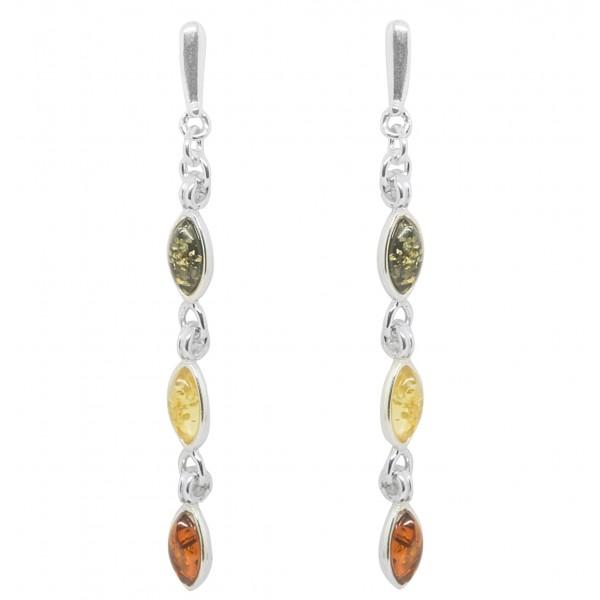 Boucle d'oreille en Argent et perle d'Ambre multicouleur