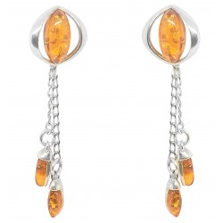 Earring Eye of cat in silver and natural amber