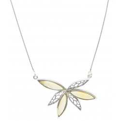 Collier avec fleur en argent et ambre royal