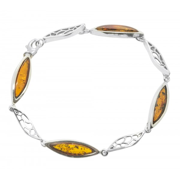 Bracelet d'ambre miel et argent 925/1000