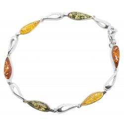 Bernstein Armband multicolor und Silber 925/1000