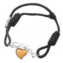 925/1000 silver bracelet with an amber heart