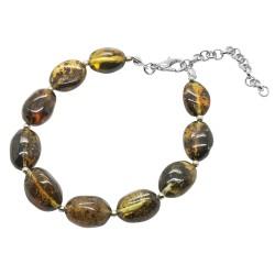 Bracelet avec Olive d'ambre vert