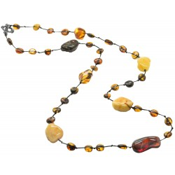 Long adult amber necklace with multicolored rough amber stones
