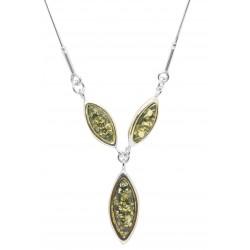Perlenkette Bernstein und Silber Unendlich grün
