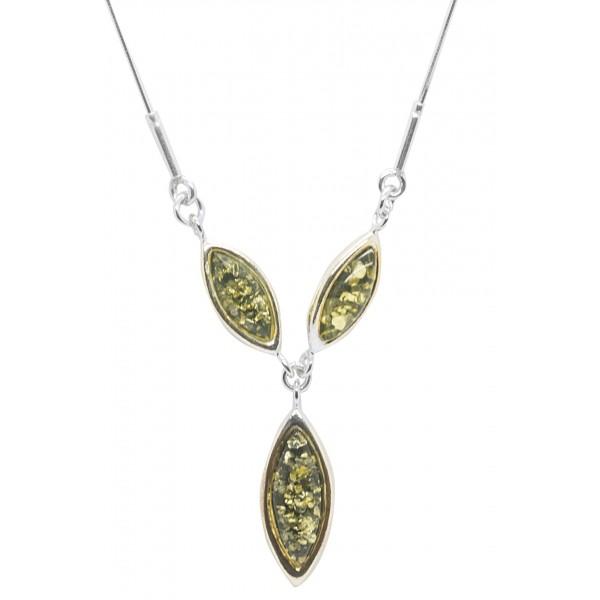 Collier perle d'Ambre et Argent Infinity