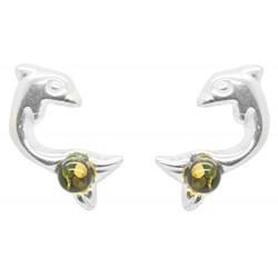 Pendiente de la forma de plata y perla Dolphin Ámbar Verde
