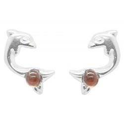Boucle d'oreille Argent forme Dauphin et perle d'Ambre
