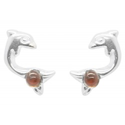 Dolphin and Amber pearl silver earrings