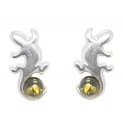 Salamandra Pendiente de plata y verde ámbar