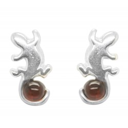 Salamander Earring in Silver and Amber Cognac