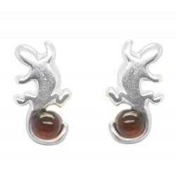 Salamandra Pendientes de plata y ámbar coñac