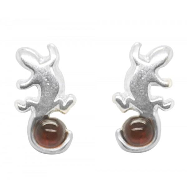 Boucle d'oreille Salamandre en Argent et Ambre véritable