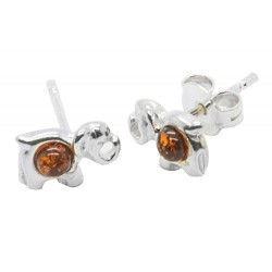 Elephant earring in silver and amber cognac