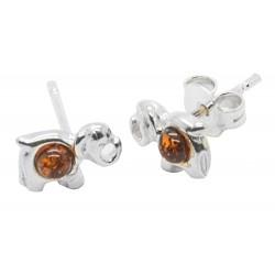 Elephant orecchino d'argento e ambra cognac