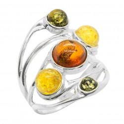 Silber-Ring und runde Perlen Bernstein Multicolor
