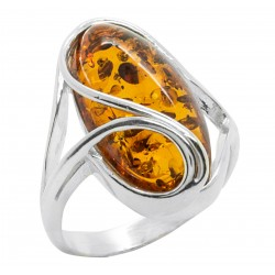Silver and Cabochon Ring in Honey Amber