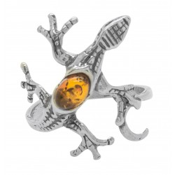 Ring in Silver Lizard and Amber color Honey