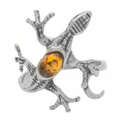 Silber Ring Lizard und Farbe Bernstein Honig