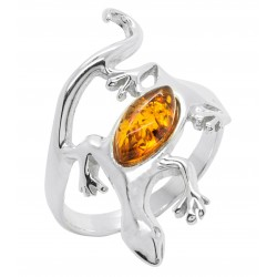 Lizard Ring in Silver and Amber Pearl