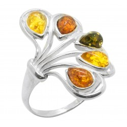 Half Flower Silver and Amber tri-color ring (honey, lemon and green)