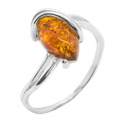 Silver Ring and Cabochon Amber Honey