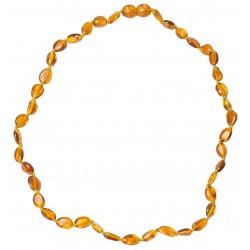 collana adulti ambra perle d'oliva cognac