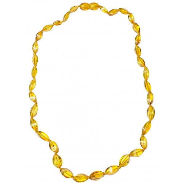 Long collier d'ambre adulte perle élégante couleur cognac