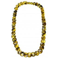 Collier femme avec bouton d'ambre vert