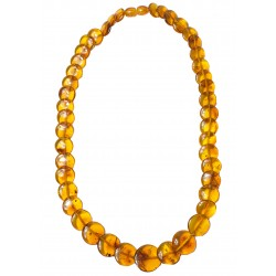 Cognac colour amber necklace with button shape amber stone