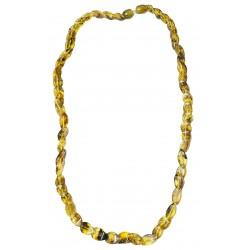 Diamant-Halskette mit natürlichen grünen Bernstein