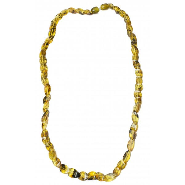 Necklace with natural green amber rhombus