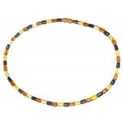 Collier d'ambre multicolore perle cylindrique