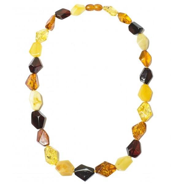 Collier d'ambre véritable multicolore taille irrégulière