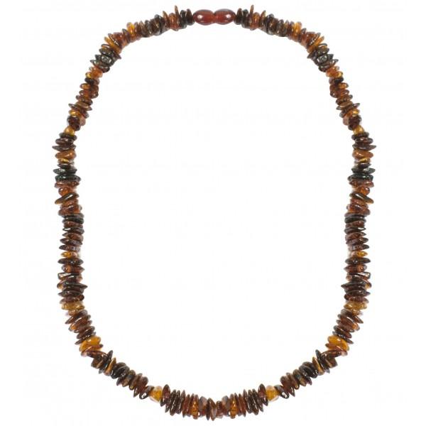 Collier d'ambre pour adultes pierres d'ambre cognac irrégulières