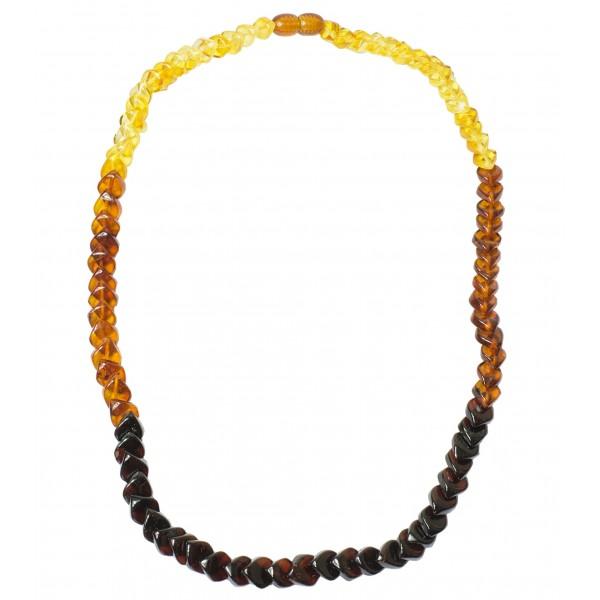 Collier d'ambre arc-en-ciel adulte pierre losange multicolore
