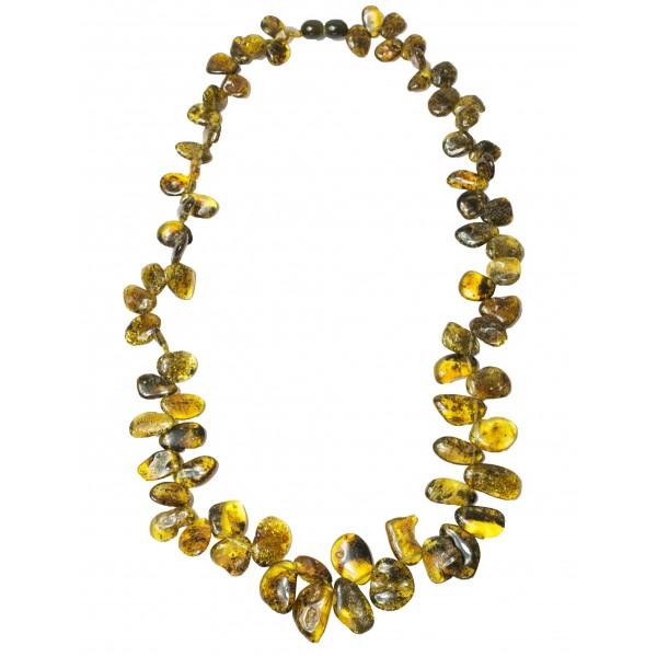 Collier femme avec pétale d'ambre vert