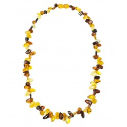 Collier en ambre multicolore, pétales d'ambre