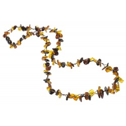 Necklace with trio of natural amber petal
