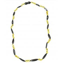 Ambra collana adulti ovale e perla rotonda di colore ciliegia e limone