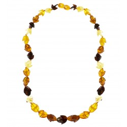 Collier d'ambre naturel multicolore demi-lune