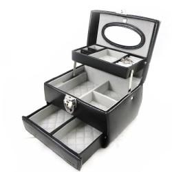 """Acapulco PM"" Leather Jewelry Box Black"