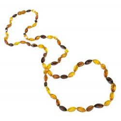 Collana lunga di ambra naturale multicolore perla eleganza.