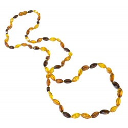 Long collier d'ambre naturel multicolore perle élégance.