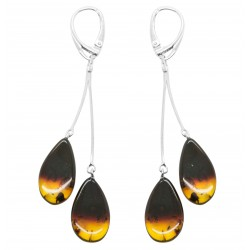 Natural amber earring with gradient