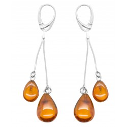 Boucle d'oreille ambre en forme de goutte d'eau