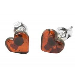 Boucles d'oreilles en argent 925 millièmes et coeur ambre cerise